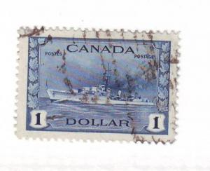 Canada Sc262 1942 $1 Destroyer Warship stamp used