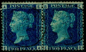 SG46, 2d blue plate 13, FINE USED, CDS. Cat £60. PAIR. EA EB
