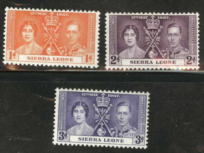 Sierra Leone Scott 170-172 MH* 1937 Coronation set
