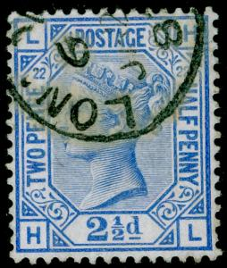 SG157, 2½d blue PLATE 22, FINE USED, CDS. Cat £40. HL