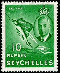 SEYCHELLES SG172, 10r green, NH MINT. Cat £28.