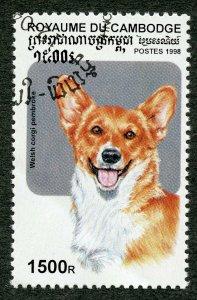 Domestic Dogs: Welsh corgi. 1998 Cambodia, Scott #1738. Free WW S/H