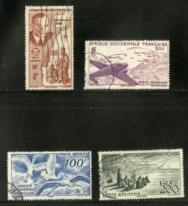 FRENCH WEST AFRICA C11-14 USED SCV $12.00 BIN $6.00 BIRDS, AIRPLANE, PEOPLE