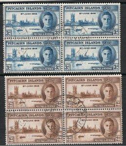 PITCAIRN ISLANDS 1946 PEACE - BLOCKS OF 4
