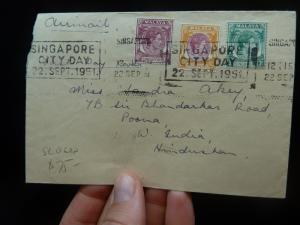 Singapore KGVI 3 color cover to Poona India, Slogan Cancel (16bek)