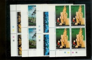 BARBADOS Sc#455-458 Complete Mint Never Hinged PLATE BLOCK Set