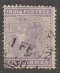 India stamp, Scott# 58, used, Two Annas, light purple color, #M084