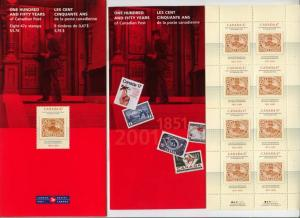 Canada - 2001 150 Years of Canada Post Pane of 8 w. VARIETY