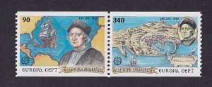 Greece   #1738A-1739Bd  MNH  1992  Europa  pair  discovery of America