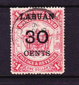 LABUAN   1895  30c on $1   RED  FU   SG 78