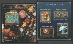 ST1873 2016 NIGER ART PAINTINGS FLOWERS VAN GOGH DEGAS RENOIR GOLD KB+BL MNH