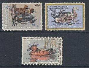US Sc RW50-RW52 used 1983-85 Migratory Bird Hunting Permit Stamps, 3 diff, sound