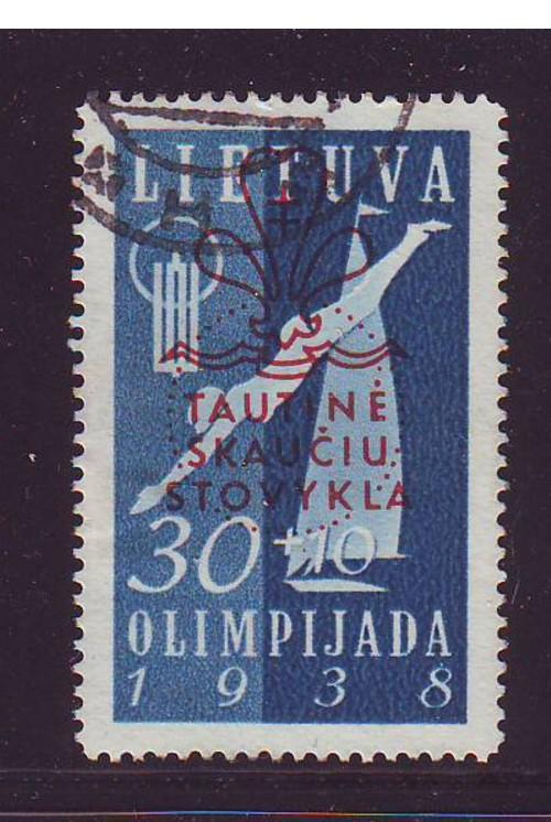 Lithuania Sc B49 1938 30 +10 Scout Jamboree stamp used