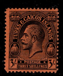 TURKS AND CAICOS ISLANDS GV SG175, 3s black/red, VLH MINT.