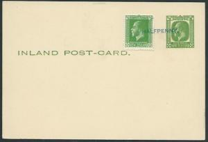 NEW ZEALAND 1932 GV ½d postcard uprated with ½d stamp downrated with opt...37806
