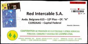 AARG-375 ARGENTINA 2014 REGISTERED COMMERCIAL LETTER DECADA G,40ps+30ps+2ps x2