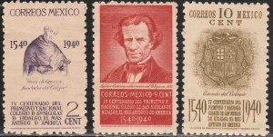 MEXICO 760-762, School of San Nicolas, 1st in America MINT, NH. VF,