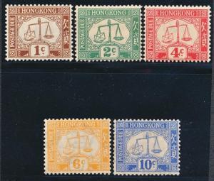 HONG KONG J1-5 MINT LH, KING GEORGE V., POSTAGE DUE