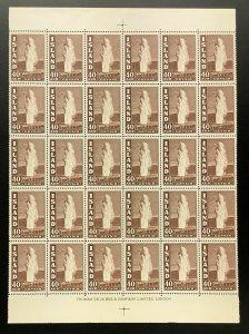 ICELAND #206, 40aur Geysir, Part sheet of 30, NH, Scott as singles $1,092.00