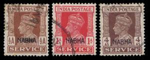 1942-44 INDIA NABHA OFFICIALS #O41, O44 & O47 - USED  - VF - CV$5.95 (E#1058)