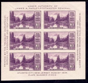 US Stamp #750 Souvenir Sheet MINT NH SCV $30
