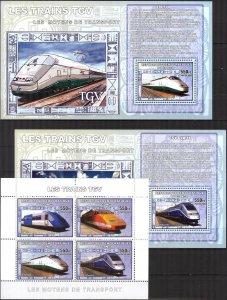 Congo 2006 Trains TVG sheet + 4 S/S MNH 2 scans