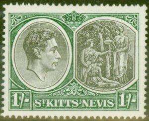 St Kitts & Nevis 1938 1s Black & Green SG75 Fine Very Lightly Mtd Mint