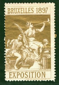 BRUSSELS EXHIBITION STAMP/LABEL Belgium 1897 *GOLD* Metallic Mint MM B2WHITE27