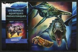 DJIBOUTI 2016 PREHISTORIC AQUATIC ANIMALS  SOUVENIR SHEET MINT NH