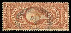 B416 U.S. Revenue Scott R44c 25c Certificate, blue 1866 oval handstamp cancel