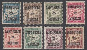 St. Pierre & Miquelon J10-J17 MH short set CV $13.30