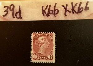 SQ Canada 6 cent #39d Brown 12 x 12 Mint H