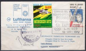 Paraguay 1973 Olympic Fly LH509 LUFTHANSA Olympic team of Paraguay Cover