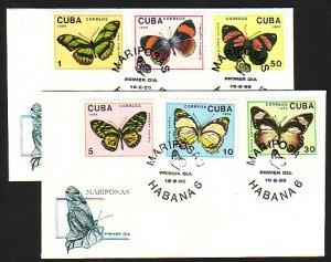 Cuba, Scott cat. 3102-3107. Butterflies issue. First day cover. ^