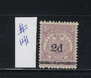TRANSVAAL- SCOTT #141  1887 SURCHARGE 2P ON 3P (VIOLET) - MINT LIGHT HINGED