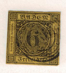 Baden (German State) Stamp Scott #9, Used, Four Margins, Paper & Hinge Remnan...