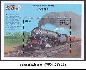 MALDIVES - 2000 ORIENTAL RAILWAY HISTORY INDIA - MIN. SHEET MNH