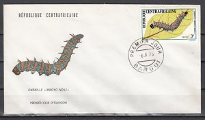 Central Africa, Scott cat. 190 only. Catapillar issue on a First day cover. ^