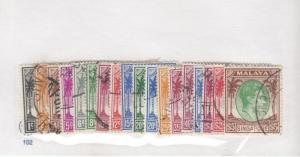 MALAYA SINGAPORE # 1a-20a LIGHT USED KGV1 ISSUES TO $5 CAT VALUE $56+