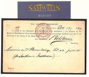 MS369 1899 USA *YALE UNIVERSITY OBSERVATORY* POSTAL STATIONERY 2c Card GB Lancs