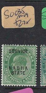 INDIA  NABHA  (P2107B)  KE   1/2A   SERVICE      SG  O35     MOG