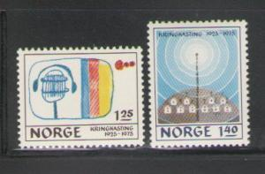 Norway Sc 663-4 1975 Broadcasting anniv stamps mint  NH