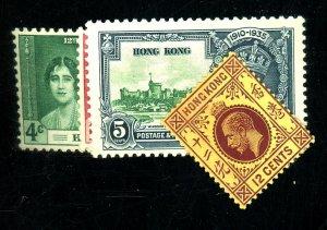 HONG KONG 115 148 151-2 MINT F-VF LH/HR Cat $33