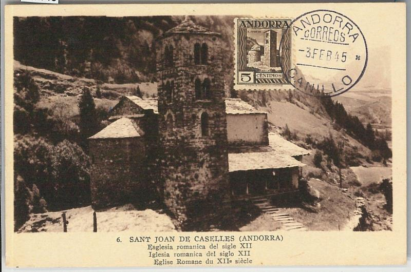 59145  -  ANDORRA - POSTAL HISTORY: MAXIMUM CARD 1945 - ARCHITECTURE