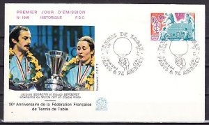 France, Scott cat. 1558. Table Tennis issue. First day cover. ^