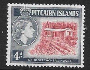 PITCAIRN ISLANDS SG23a 4d 1958 SCARLET AND DEEP ULTRAMARINE MNH