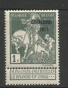 BELGIUM, B21, MINT HINGED, OVPTD 1911 ST. MARTIN OF TOURS DIVIDING HIS CLOAK