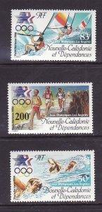 New Caledonia-Sc#C197-9-Unused NH airmail set-Sports-Olympics-Los Angeles-1984-