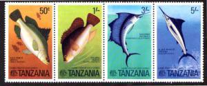 TANZANIA 66-69 MH STRIP/4 SCV $4.25 BIN $2.15 MARINE LIFE