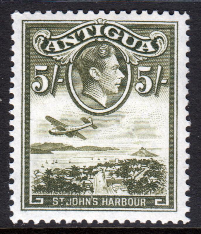 Antigua KGVI 1938 5/- 5s Olive-Green SG107 Mint Lightly Hinged